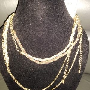 S/2 Wrapped fabric/chain necklaces
